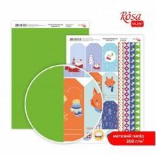 """Бумага дизайнерская двусторонняя матовая """"NewYear"""" 8, 21х29,7 см, 200 г/м2, ROSA TALENT"""