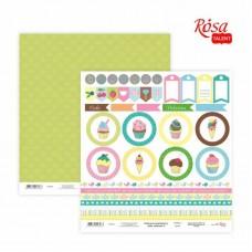 Бумага для скрапбукинга «Cake delicious» 6, двусторонняя, 30х30см, 200г/м2, ROSA TALENT