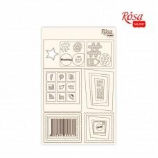 """Чипборд для скрапбукинга Классический """"Рамки и пиктограммы"""", белый картон, 12,6х20см, ROSA TALENT"""