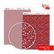 """Бумага дизайнерская двусторонняя матовая """"Christmas"""" 4, 21х29,7 см, 200 г/м2, ROSA TALENT"""