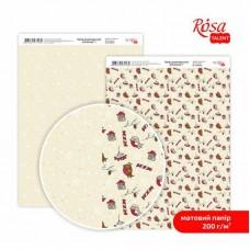 """Бумага дизайнерская двусторонняя матовая """"Christmas"""" 1, 21х29,7 см, 200 г/м2, ROSA TALENT"""