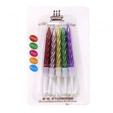 "Набор свечей д / торта ""JO"" / DSCN1283 / ""Rainbow"" 0,6 * 5,5см, перламутр, 10шт / уп, микс (1/50/600)"
