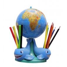 """Глобус фіз """"Три кити"""" наб.(16cм. + флом6+олівці кол6+нож13,гумка, олівець ч/г) (1/6)"""