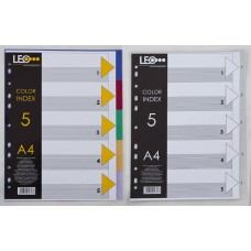 """Розділювачі кольорові А4, 5 розділів """"LEO"""" /490587/ L3565 (1/100/400)"""