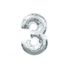 """Кулька - цифра """"WB"""" /8535s-3/ """"3"""" срібна , 45см"""