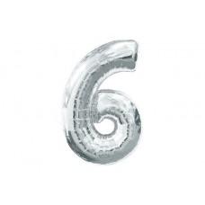 """Кулька - цифра """"WB"""" /8535s-6/ """"6"""" срібна , 45см"""