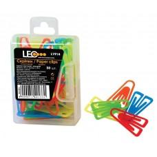 """Скріпки """"LEO"""" /140133/ L1914, 25мм (50шт) пласт. кольорові (10/400)"""
