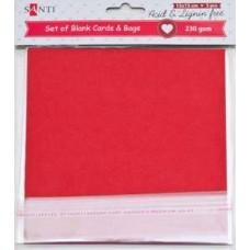 Набор красных заготовок для открыток, 15см*15см, 230г/м2, 5шт.