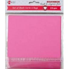 Набор розовых заготовок для открыток, 15см*15см, 230г/м2, 5шт.
