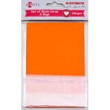 Набор оранжевых заготовок для открыток, 10см*15см, 230г/м2, 5шт.
